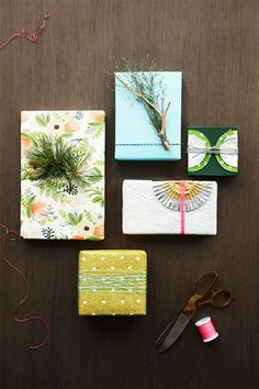 25+ Easy & Creative Gift Wrapping Ideas - // I like the pine needles on the Riffle paper.