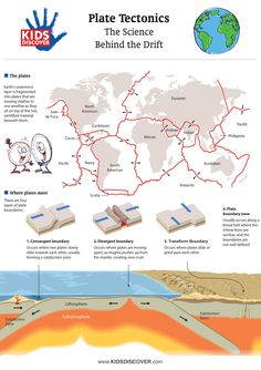 "KIDS DISCOVER and Ice Age: Continental Drift have teamed up to bring you this detailed infographic on plate tectonics and the ""science behind the drift."" Click-thru for a FREE printable! Science Resources, Science Lessons, Science Activities, Science Projects, Science Notes, Fair Projects, Science Fair, Life Science, Science Experiments"