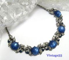 Vintage Necklace Blue Glass rhinestone enamel by Vintage55 on Etsy, $72.00
