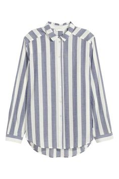 Cotton shirt: Straight-cut shirt in airy cotton with a narrow turn-down collar, pearly buttons at the front, long sleeves and a rounded hem that is slightly longer at the back.
