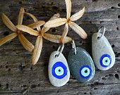 EYE SEE YOU...jewelry making supplies, 3 hand painted stones,Turkish eye,good luck rocks