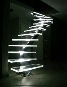 Lights for stairways are as crucial as the lighting of any rooms in your house. A good lighting for the stairs should not be underestimated. The dark stairways might cause a . Futuristic Interior, Modern Interior, Interior Architecture, Interior Design, Staircase Architecture, Amazing Architecture, Modern Staircase, Staircase Design, Staircase Ideas