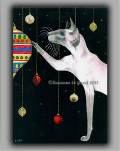 Large Limited Edition SIAMESE CAT painting by SuzannesGallery