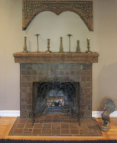 """Bishop fireplace"". Custom glazed field tiles with Batchelder Revival decoratives by Cha-Rie Tang."