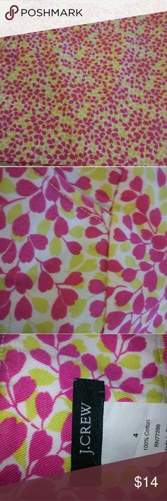 Super Cute Pink & Green Floral Print Skirt Great J.Crew skirt perfect for Spring and Summer.  Excellent condition J. Crew Skirts A-Line or Full