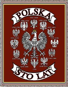The emblem of Poland, the Polish Eagle (Polski Orzel) has evolved over the centuries. This beautiful woven tapestry highlights twelve of those eagles beginning with the year In the center is the present day design.