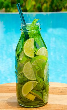 3-4 Limes, sliced 1-2 Lemons, sliced Handful of mint  Chop ingredients. Place in a jar. Fill with water and secure lid. Refrigerate overnight.