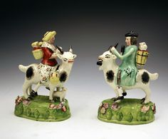 """Стаффордширские статуэтки. Популярный сюжет в 18 веке, хотя до 19 тоже продержался - валлийцы на козах. Якобы бедные """"тэффи"""", которые не могут позволить себе лошадь, разъезжают на козах - такой уж практичный народ. Любители некрупного рогатого скота появлялись на карикатурах, но статуэтки тоже пользовались спросом."""