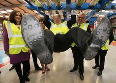 Boris Johnson swinging from a bus during a visit to the Wrightbus Chassis plant in Antrim. He has described Cameron's 'Project Fear' claim as 'baloney' Eu Referendum, Political Events, Boris Johnson, Hyde, Great Britain, Politics, Antrim Ireland, History, Artist