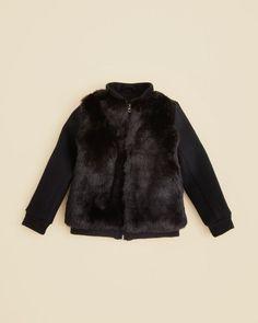 Vince Girls' Faux Fur Bomber Jacket - Sizes 2-6