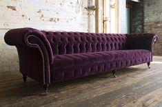 Chesterfield Sofas, Purple Couch, Purple Velvet, Sofa Design, Sofa Furniture, Furniture Design, Coaster Furniture, Refurbished Furniture, Home Decor