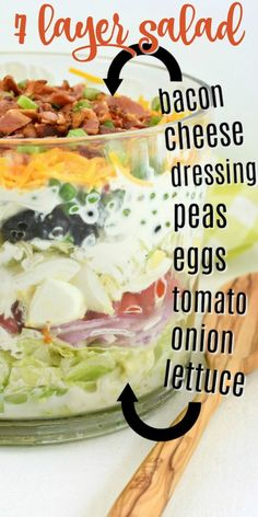 A classic, easy 7 layer Salad recipe served in a trifle bowl. So many options fo… A classic, easy 7 layer Salad recipe served in a trifle bowl. So many options for the seven layers, you choose what you love. Perfect for potlucks! Spinach Salad Recipes, Asparagus Recipe, Chicken Salad Recipes, Asparagus Salad, Cabbage Salad, Good Salad Recipes, Lettuce Salad Recipes, Chicken Salads, Cooking Recipes