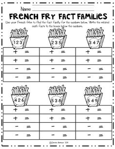 Math Worksheets Fact Families For First Grade Mathematics Math Function Machine Worksheets 1st Grade French Fry Fact Families Math Center Pdf