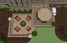 Rectangle patio design with circle fire pit area for Square patio design ideas