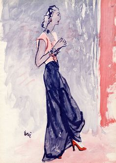 Hattie Carnegie (Couture), 1944, Illustrated By Eric (Carl Erickson)