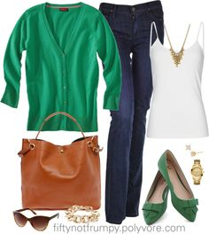 """Need to pick up a green cardigan  """"Kelly and Navy"""" by fiftynotfrumpy ❤ liked on Polyvore"""