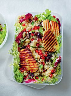 Grilled halloumi with pomegranate quinoa salad recipe from Anxiety & Depression by Dale Pinnock Quinoa Salad Recipes, Veggie Recipes, Lunch Recipes, Summer Recipes, Healthy Recipes, Healthy Lunches, Healthy Food, Yummy Food, Halloumi Salad
