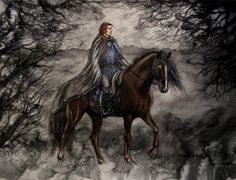 """Rider by ~liga-marta on deviantart    """"Maedhros indeed repented, and sought for them long in the woods of Doriath; but his search was unavailing, and of the fate of Elured and Elurin no tale tells.""""    The Silmarillion, Of the Ruin of Doriath."""