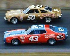 Richard Petty #43 Dodge and A.J.Foyt #50 Chevrolet @ the Daytona 500 1973