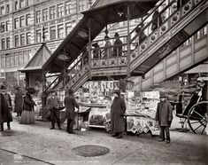 """New York circa 1903. """"A characteristic sidewalk newsstand."""" Who can help us date these period periodicals? Detroit Publishing glass negative."""