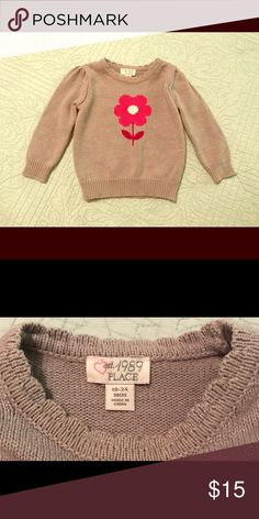 The Children's Place, 12-18 Months,Sparkly Sweater EUC; No Signs of Wear Super Adorable, Gray, Sparkly Sweater with Flower!  Baby Girls Size 12-18 Months Brand is The Children's Place The Children's Place Shirts & Tops Sweaters