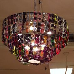 Sunglass chandelier. Note to self- this is what your light fixtures will look like if you don't make everything match. (e)
