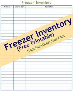 Freezer & Pantry FREE Printable