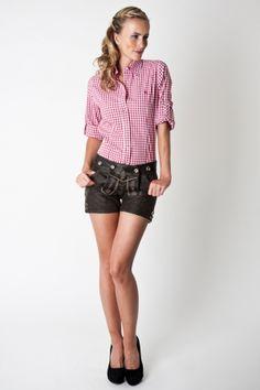 Trachten blouse Dana, red white chequered  Da Omnia Style c'è!