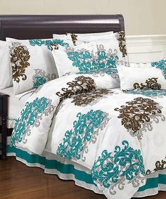Take a look at this Brown & Turquoise Angelina Reversible Comforter Set by Duck River Textile on #zulily today! LOVE IT!!!