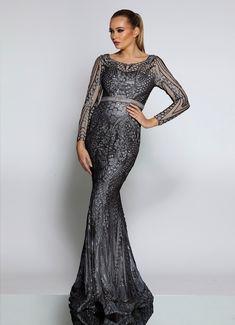 1260898bb18 Jadore JX1003 Steel Blue Long Sleeve Sequin Mermaid Formal Dress