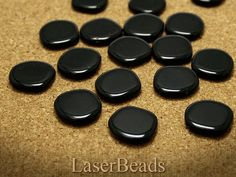 Large Black Glass Beads 20mm Czech Pressed Opaque by LaserBeads, $2.17