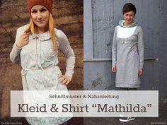 """Kleid+&+Shirt+""""Mathilda""""+kann+in+vielen+verschiedenen+Varianten+genäht+werden.+Ob+als+klassisches+oder+sportliches+Kleid,+süßes+Bubikragen-Shirt,+Rolli+oder+Hoodie+–+insgesamt+8+verschiedene+Nähvarianten+sind+möglich.+Ein+besonderer+Hingucker+ist+der+runde+Einsatz+vorn,+der+aus+einem+passenden+Kombi-Stoff+genäht+und+mit+Knöpfen+verziert+werden+kann.+Die+Ärmel+sind+in+zwei+verschiedenen+Längen+im+Schnittmuster+enthalten.  Das+Schnittmuster+enthält+die+Größen+32+bis+52.  """"Das+ist+für+mich+..."""