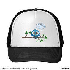 Cute blue twitter bird cartoon trucker hat