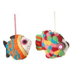 Felt Ornament Fish Set Of 2  Reminds me of the rainbowfish children's book