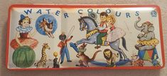 Vintage Watercolor Set Gollywog Circus England LL Product Tin Litho Paint Box Antique Toys, Vintage Toys, Vintage Antiques, Watercolour, Watercolor Paintings, Japanese Monster, Painted Boxes, Tins, Vintage Photos