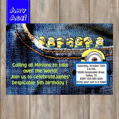 Minions Birthday Invitation Despicable Me 2 by MyPrintableParty