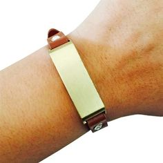 Fitbit Bracelet for FitBit Flex Fitness Trackers - The KATE Crystal Studded Single-Strap Brushed Gold and Tan Premium Vegan Leather Buckle Fitbit Bracelet by Funktional Wearables.