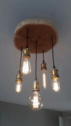 Afbeeldingsresultaat voor schijf boomstam lamp #LampMaken