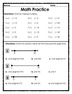 FREE - Elementary Geometry: Lines and Multiplication Practice - 1 page.