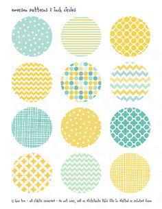 Aqua bleu jaune 2inch cercles pépinière de douche de bébé numérique, pastel, embouts de cupcake imprimable parti de chevron polka dot stripe quadrilobe 927