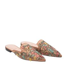 d1be36d6a Shop Alberta Ferretti Brown SATIN Embroidered flat mules for Women at Level  Shoes in Dubai mall or Buy Online and Pay Cash on delivery in UAE