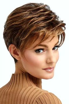 Trending Hairstyles 2019 – Short Pixie Hairstyles - EveSteps Pixie hairstyles are modern hairstyles and many women no matter what their age are keeping their hair short. Short hair is not enough for any woman, Modern Hairstyles, Trending Hairstyles, Short Hairstyles For Women, Short Pixie Haircuts, Short Hair Cuts, Pixie Cuts, Raquel Welch Wigs, Long Pixie, Fine Hair