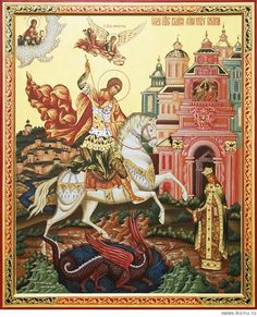 Святой Георгий Победоносец - Чудо о змие (авторская копия) Hl Georg, Happy Name Day, Saint George And The Dragon, Byzantine Icons, Orthodox Icons, St Michael, Religious Art, Historical Photos, Astronomy