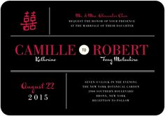 This Chinese wedding invitation features subtle elements such as the double happiness symbol, to put a modern spin on traditional Chinese weddings. Find more unique wedding invitations, save the dates, and reception stationery at www.weddingpaperdivas.com.