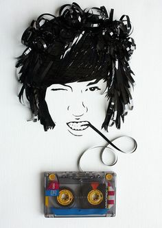 Ghost in the Machine series by Erika Iris Simmons.  Paul Griffiths portrait made out of a recycled cassette tape.