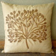 The Gold Tree  Pillow Sham Covers  24x24 Inches by TheHomeCentric