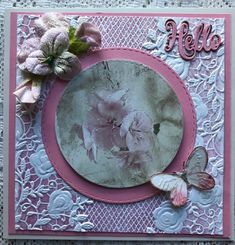 For my first card I used assorted dies,cardboard and craft paper as well as old lace closeup For my second card I titled i. Easy Cards, I Card, Embellishments, Layouts, Card Making, Paper Crafts, Garden, Flowers, How To Make