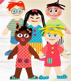 1. Maak gebruik van een sjabloon. Neem de uitgeknipte sjablonen over op Colortime karton om de poppen en kleding uit te knippen. 2. Knip chenille in kleine stukjes en bevestig met nietjes op het hoofd van de pop. Bevestig de kleding met lijm. Als je de pop wilt kunnen aan- en uitkleden knip dan vouwstrips aan de kleding.  3. Bevestig kleine decoraties met lijm. Gebruik stiften of kleurpotloden voor details. Diy For Kids, Craft, Luigi, Minnie Mouse, Disney Characters, Fictional Characters, Activities, Anime, Inspiration