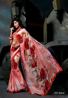 This georgette material red & light coral color printed casual saree with red border patta. The most adorable printed saree in this collection. Available with matching blouse piece.
