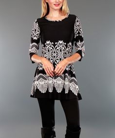 This Black & White Tapestry Tunic is perfect! #zulilyfinds